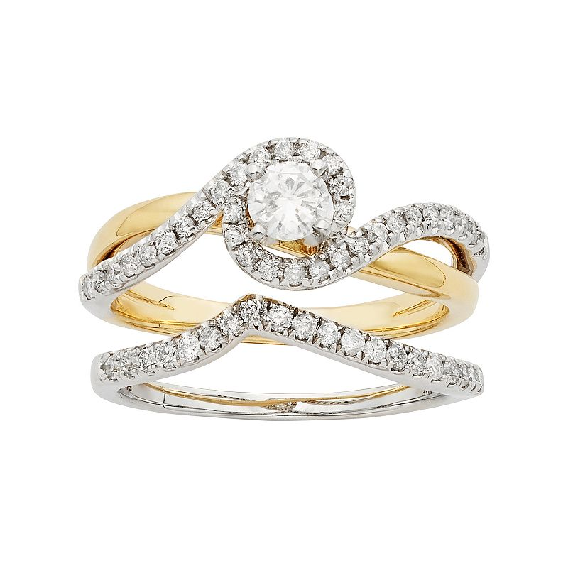 Two Tone 14k Gold IGL Certified 3/4 Carat T.W. Diamond Swirl Halo Engagement Ring Set