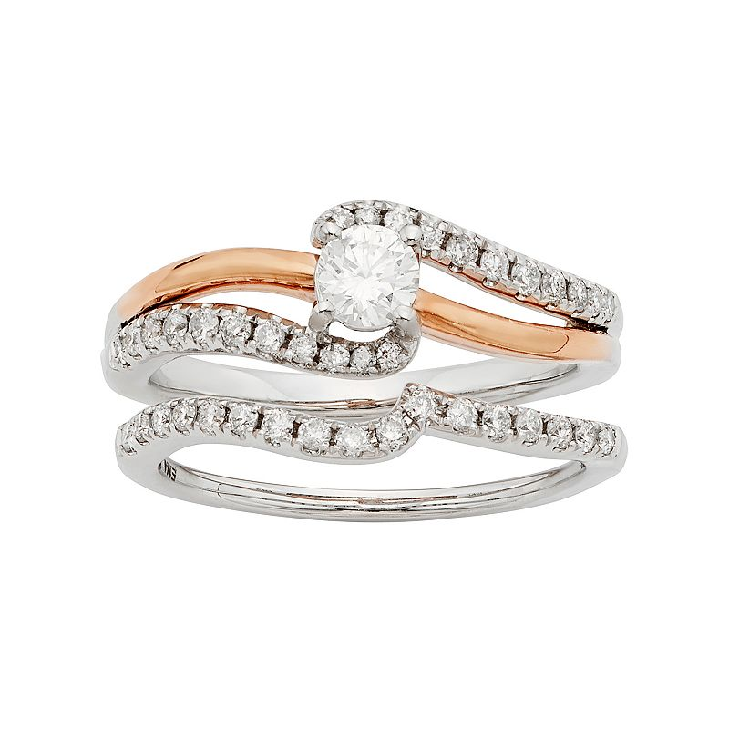 Two Tone 14k Gold IGL Certified 3/4 Carat T.W. Diamond Twist Engagement Ring Set