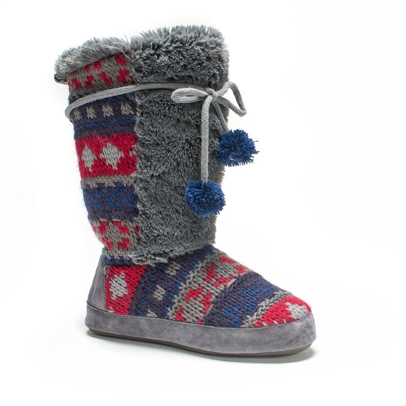 MUK LUKS Women's Jewel Cable-Knit Bootie Slippers