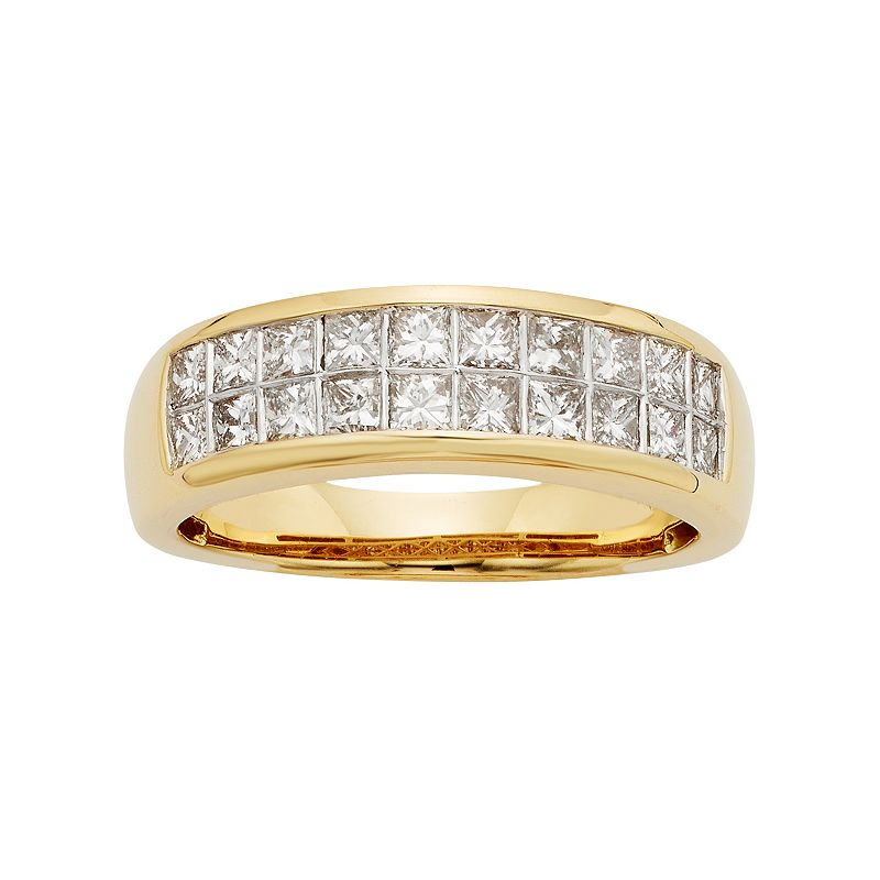 14k Gold IGL Certified 1 Carat T.W. Diamond Multirow Wedding Ring