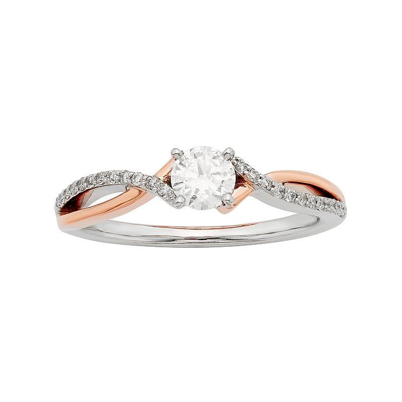 Two Tone 14k Gold IGL Certified 1/2 Carat T.W. Diamond Twist Engagement Ring