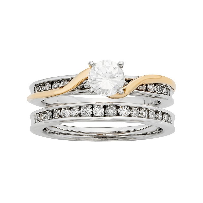 Two Tone 14k Gold IGL Certified 1 Carat T.W. Diamond Twist Engagement Ring Set