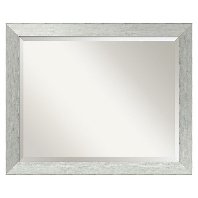 Brushed Sterling Beveled Wall Mirror