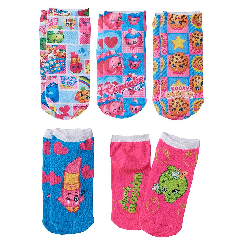 Girls Shopkins 5-pk. No-Show Socks