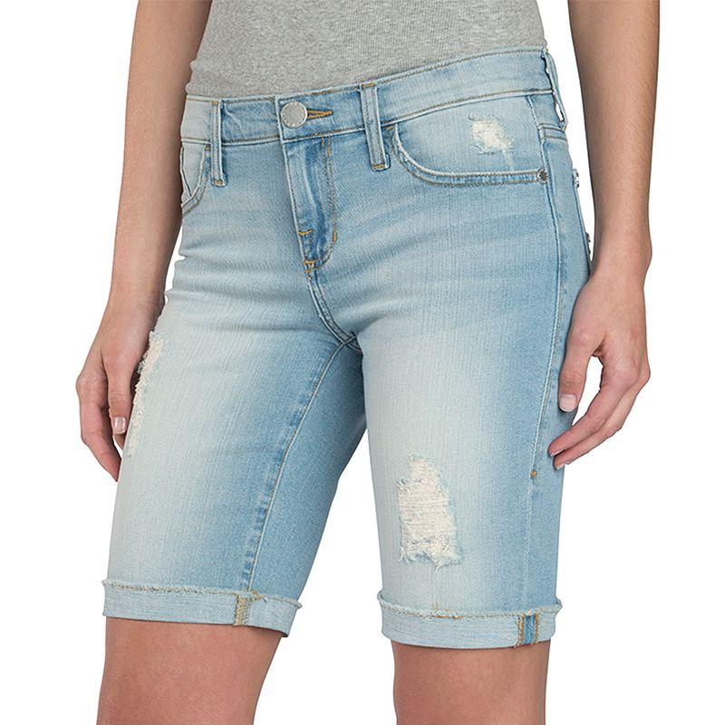 Women's Rock & Republic® Ripped Bermuda Jean Shorts, Size: 0, Light Blue