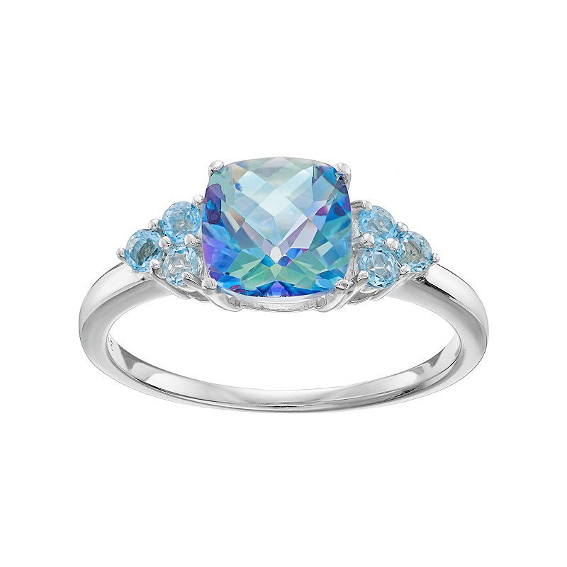 Sterling Silver Cassiopeia & Blue Topaz Ring