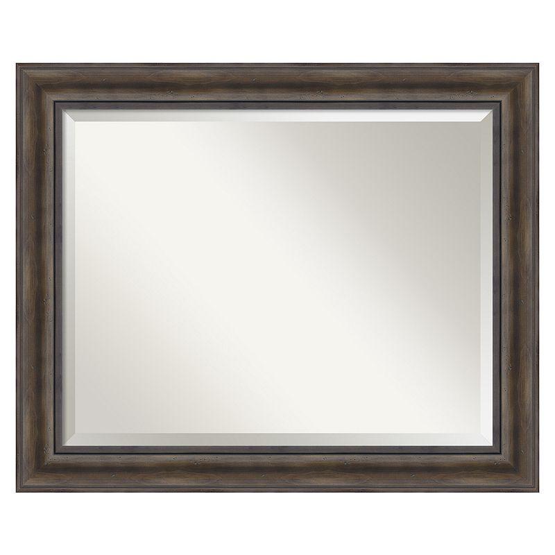 Rustic Pine Beveled Wall Mirror