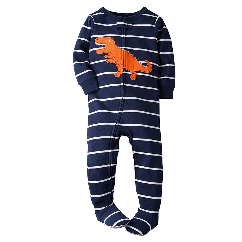 Baby Boy Carter's Striped Navy Footed Pajamas