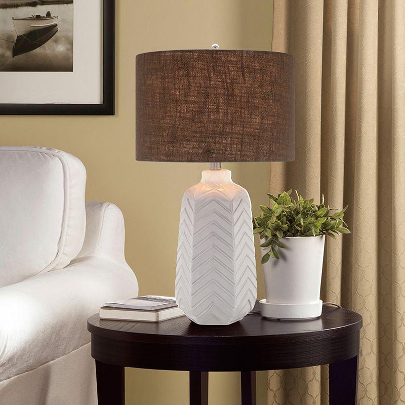Illuminada 3-Way 27'' Ceramic Chevron Table Lamp