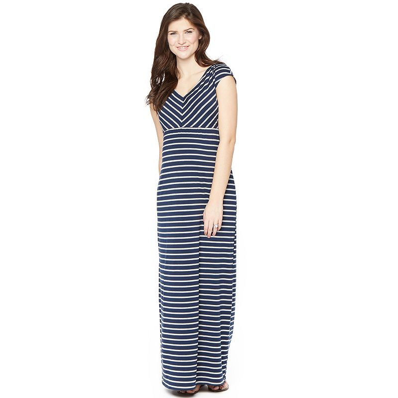 Maternity Oh Baby by Motherhood™ Mitered-Stripe Maxi Dress