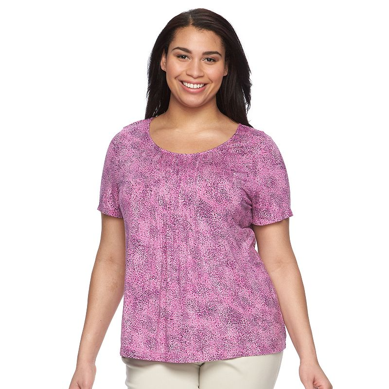 Plus Size Croft & Barrow® Printed Pleated Top