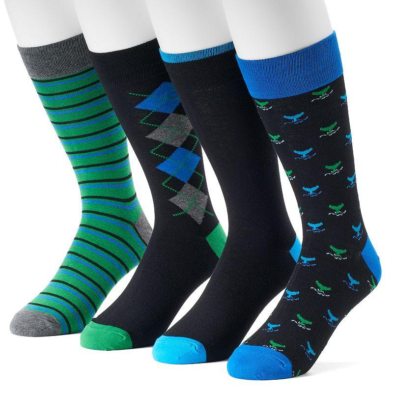 Men's Croft & Barrow® 4-pack Solid & Patterned Dress Socks