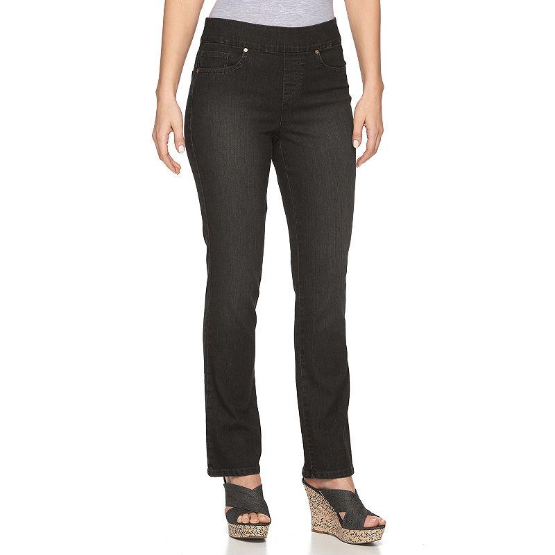 Women's Gloria Vanderbilt Avery Straight-Leg Jeans, Size: 4 SHORT, Grey (Charcoal)