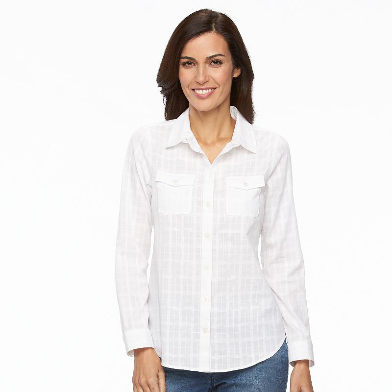 Women's Croft & Barrow® Textured Dobby Shirt