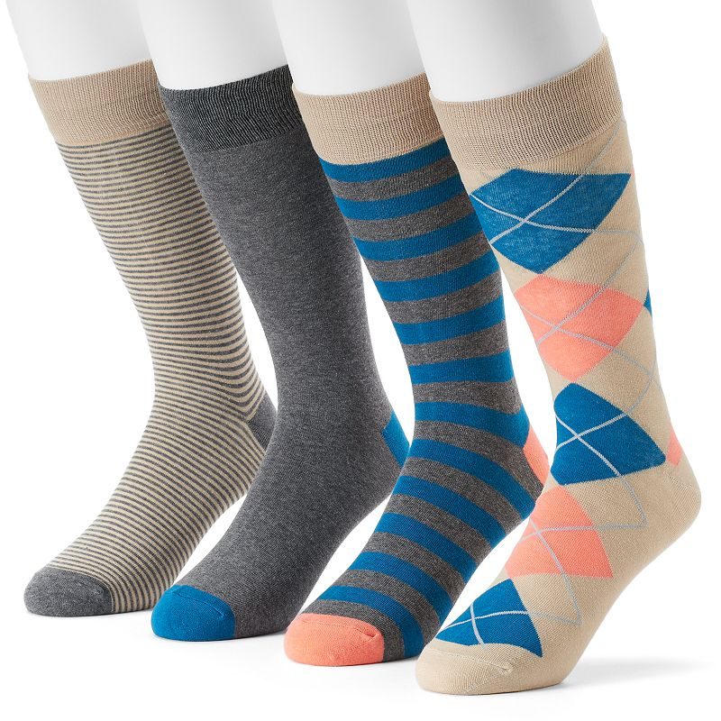 Men's Croft & Barrow® 4-pack Solid & Patterned Dress Socks