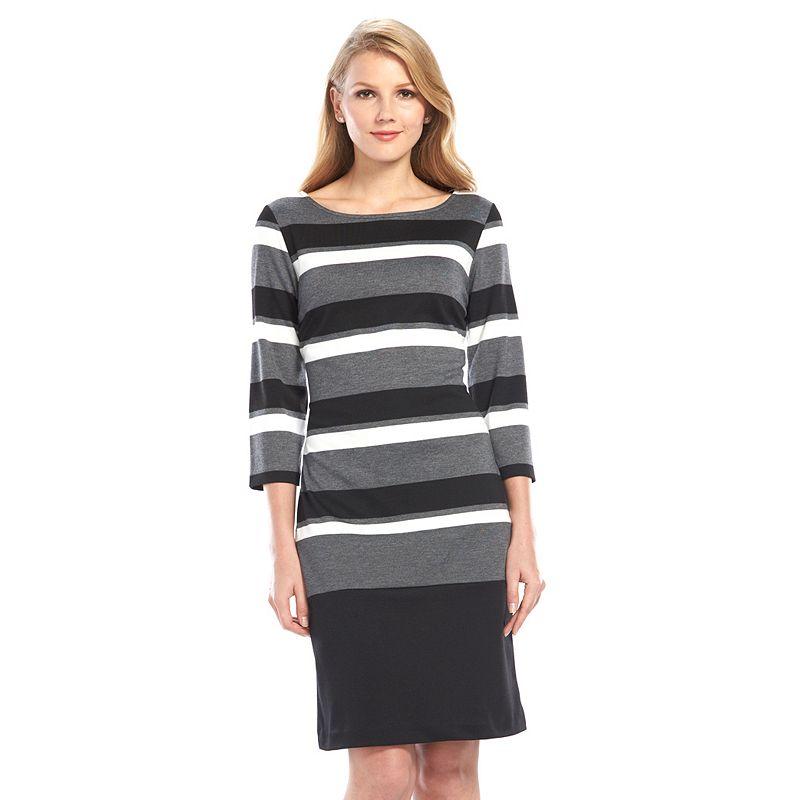 Ronni Nicole Striped Ponte Sheath Dress - Women's