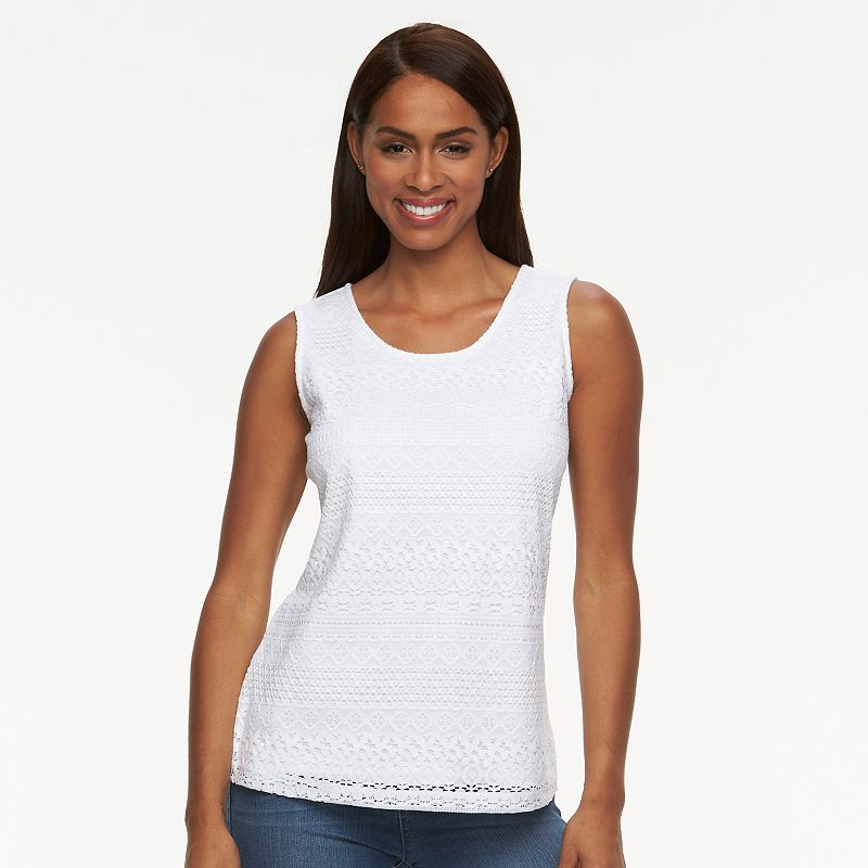 Women's Croft & Barrow® Lace-Front Scoopneck Tank