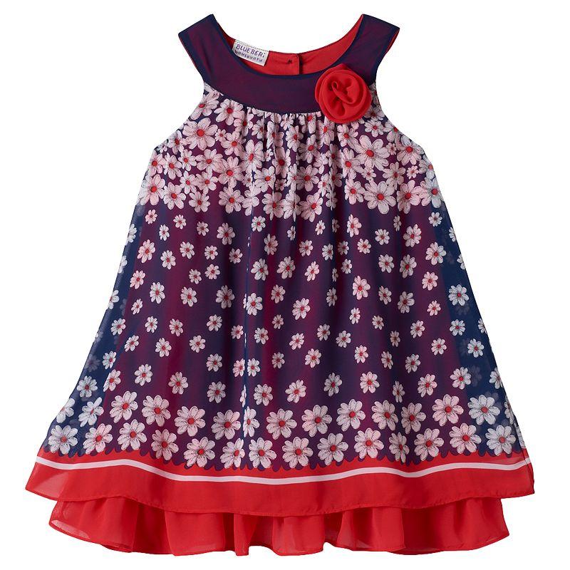 Girls 4-6x Blueberi Boulevard Patriotic Floral Swing Dress