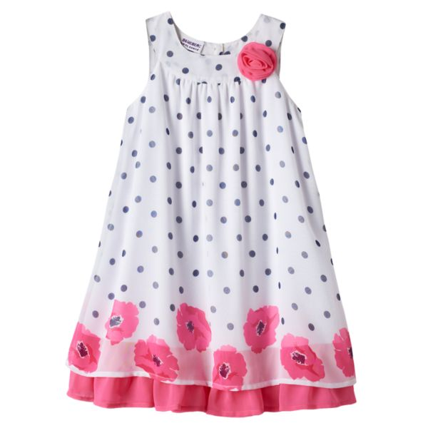 Girls 4-6x Blueberi Boulevard Polka-Dot Chiffon Shift Dress