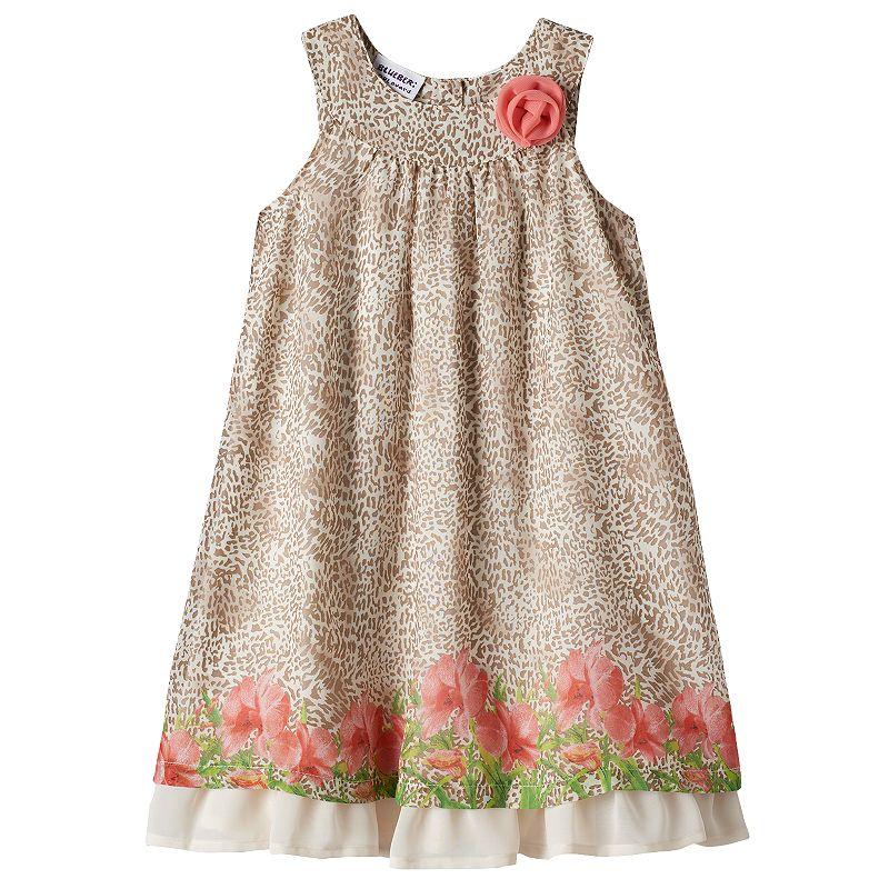 Girls 4-6x Blueberi Boulevard Cheetah Flower Chiffon Dress