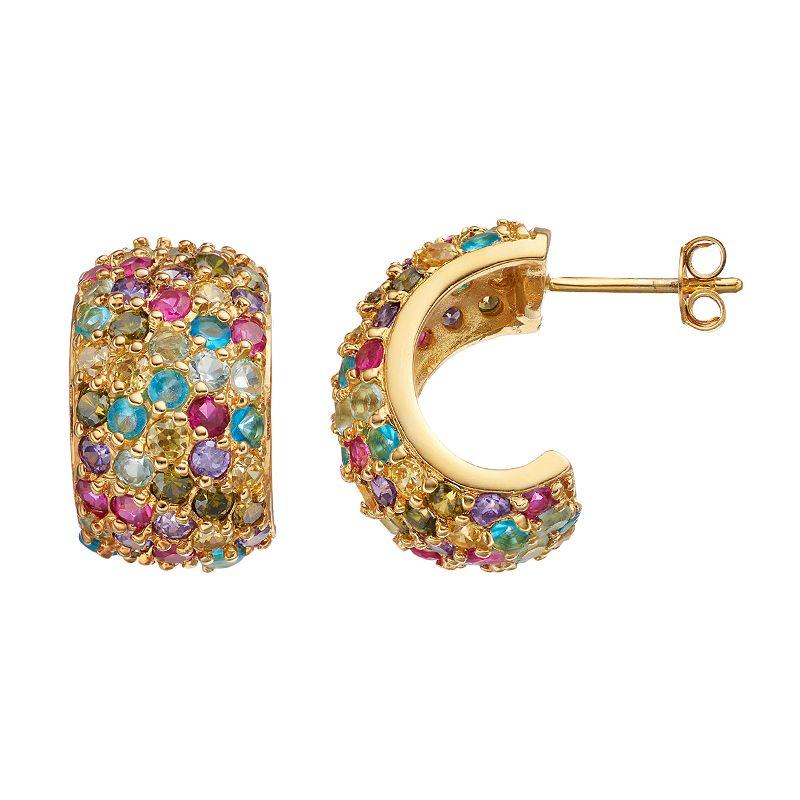 Sophie Miller Cubic Zirconia & Lab-Created Ruby Semi-Hoop Earrings