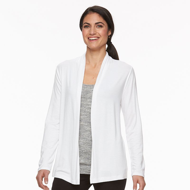 Petite Croft & Barrow® Slubbed Open-Front Cardigan