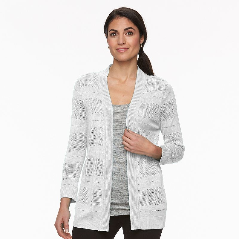Petite Croft & Barrow® Pointelle Open-Front Cardigan