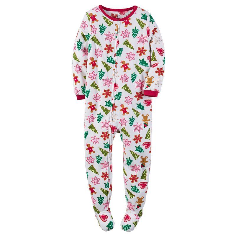 Carter's Girls 4-14 Fleece One-Piece Christmas Footed Pajamas