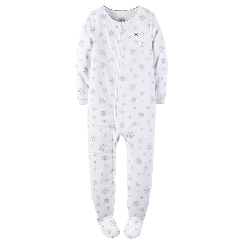 Girls 4-14 Carter's Fleece One-Piece Snowflake Footed Pajamas
