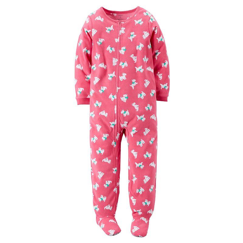 Girls 4-14 Carter's Fleece One-Piece Scottie Dog Footed Pajamas