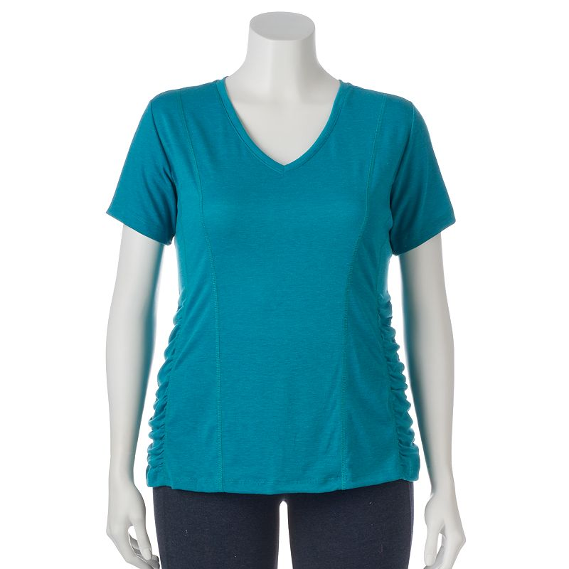 Plus Size Bally Total Fitness Secret Slimming V-Neck Workout Tee