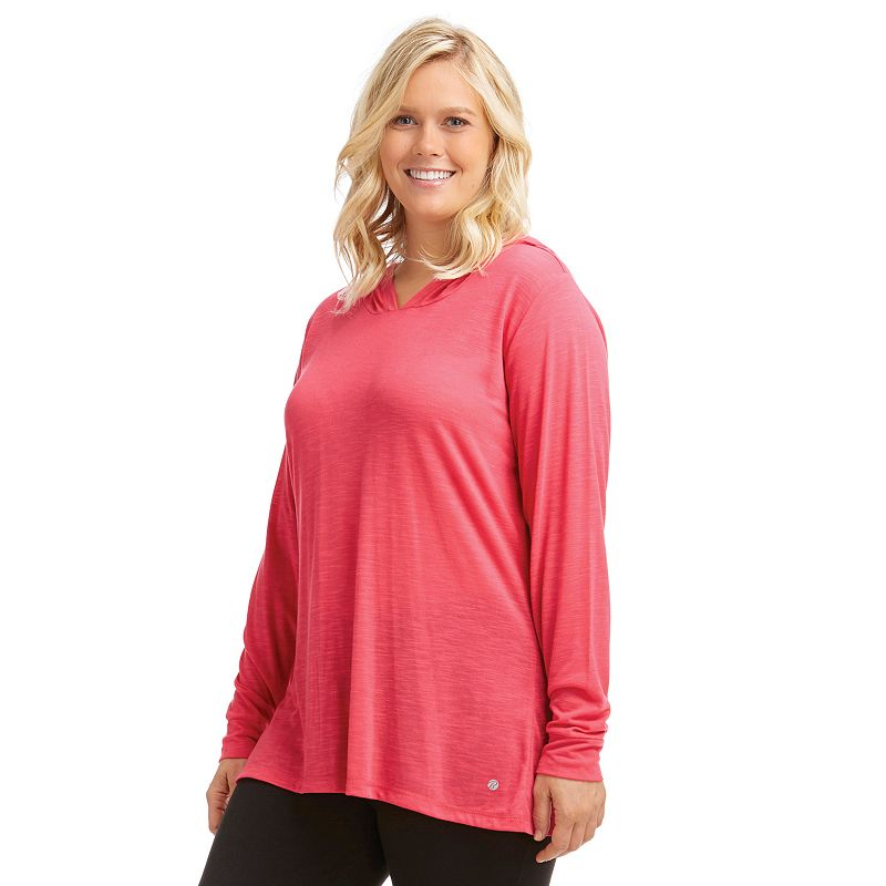 Plus Size Bally Total Fitness Ruched Back Workout Hoodie