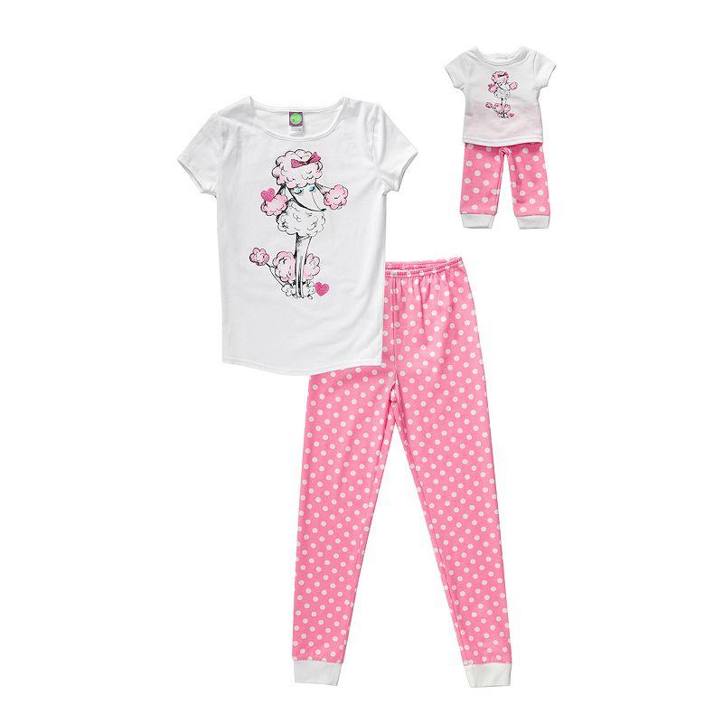 Girls 4-14 Dollie & Me Poodle Polka-Dot Pajama Set