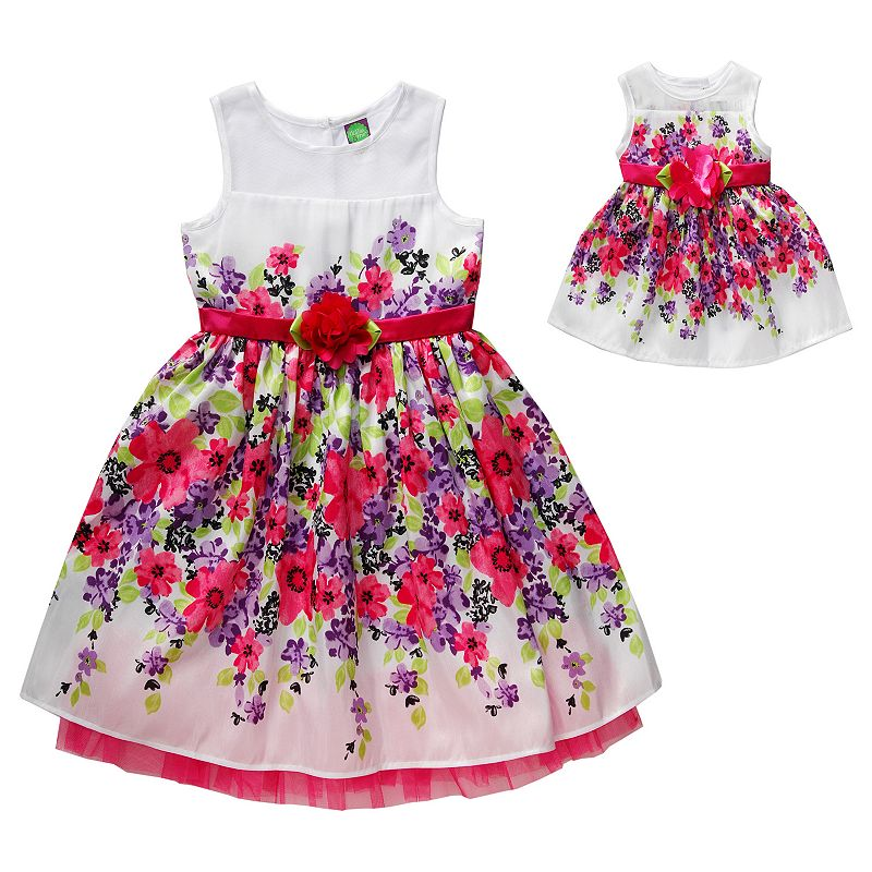Girls 4-14 Dollie & Me Floral Shantung Empire Dress