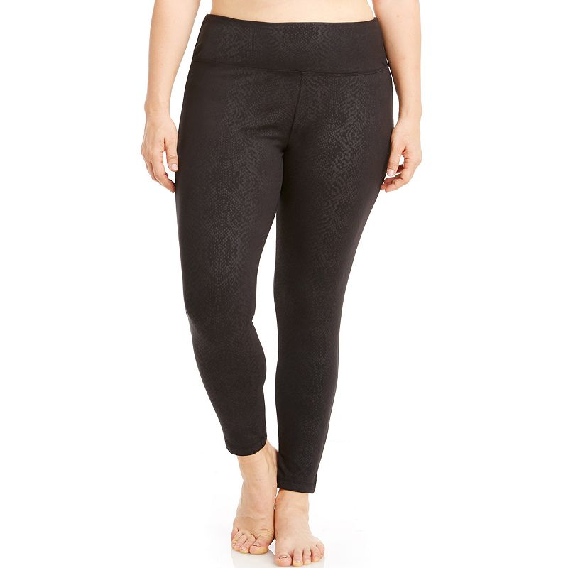 Plus Size Bally Total Fitness Embossed Workout Leggings