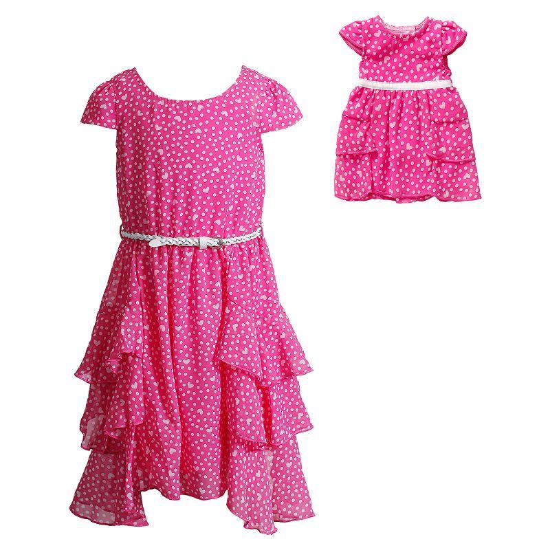 Girls 4-14 Dollie & Me Ruffled Heart Chiffon Dress with Belt