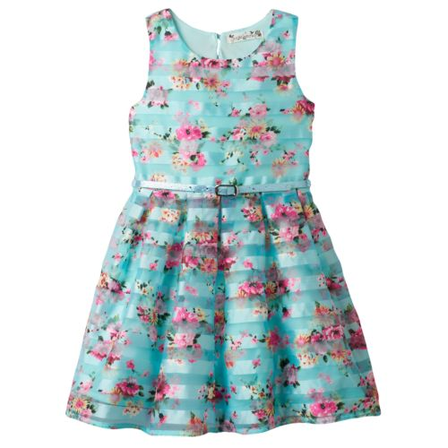 Girls 4-6x Knitworks Striped Floral Skater Dress