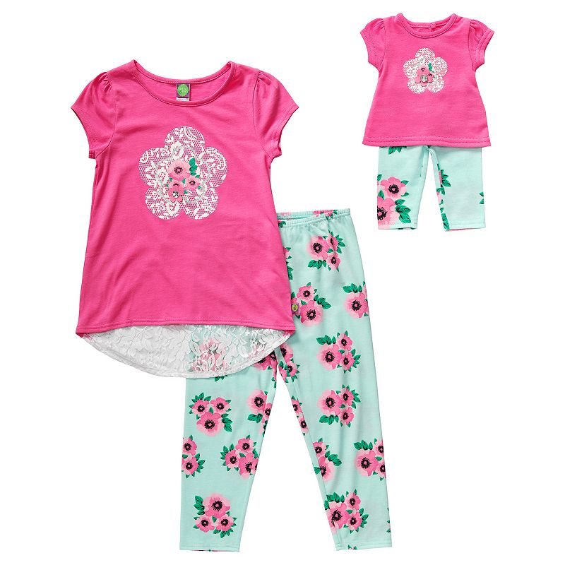 Girls 4-14 Dollie & Me Lace High-Low Tee & Floral Leggings Set