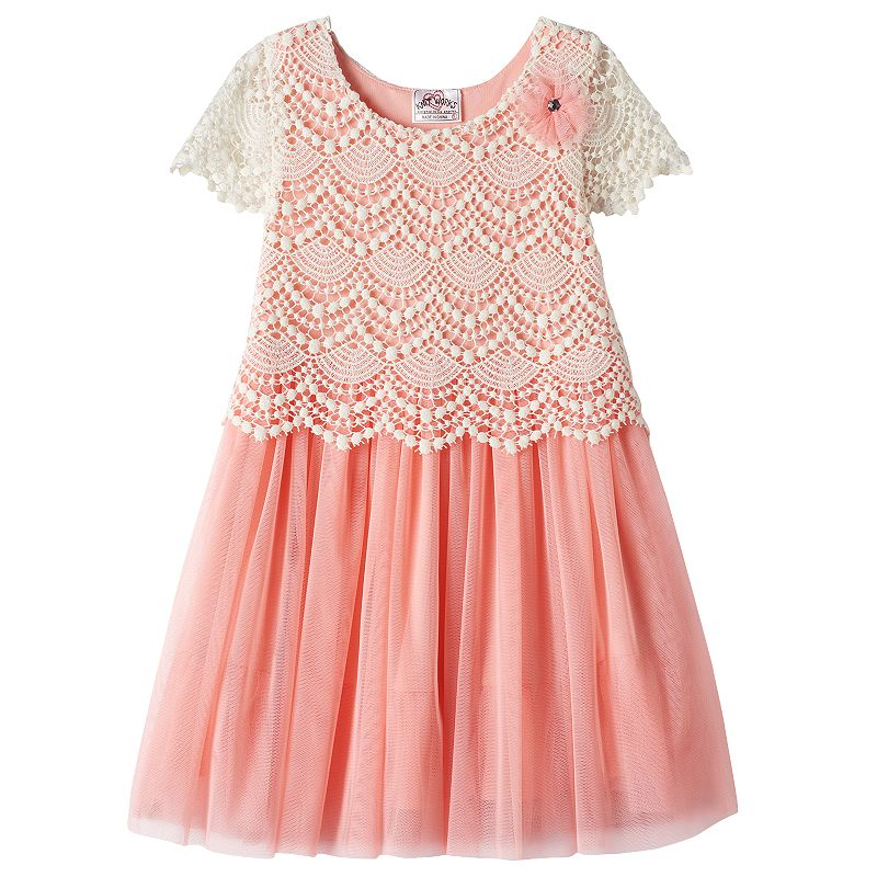 Girls 4-6x Knitworks Mock-Layer Crochet Popover Dress
