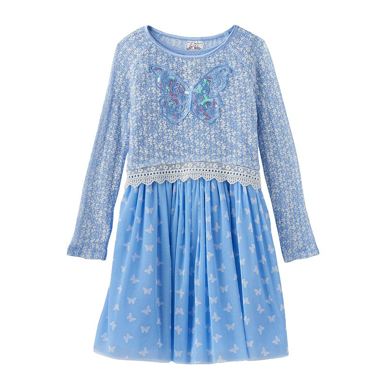 Girls 4-6x Knitworks Open-Knit Sweater & Butterfly Dress Set