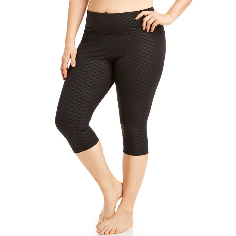 Plus Size Bally Total Fitness Embossed Capri Workout Leggings