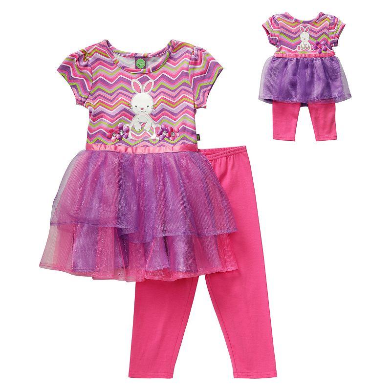 Girls 4-14 Dollie & Me Easter Bunny Tutu Empire Dress & Leggings Set