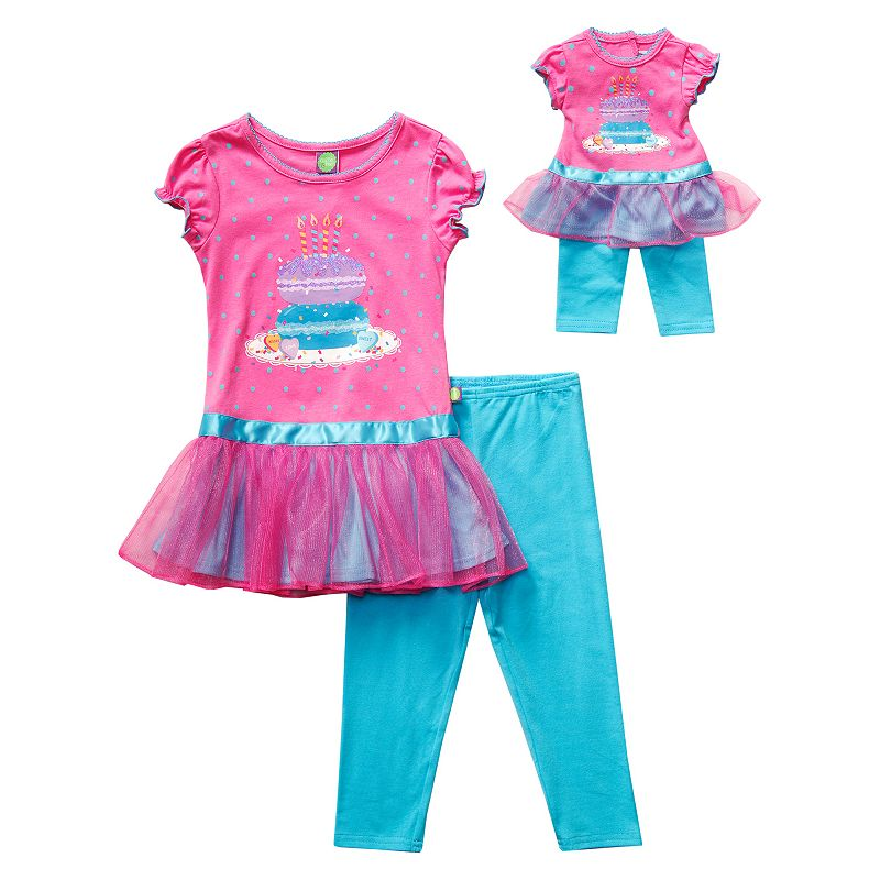 Girls 4-14 Dollie & Me Birthday Tutu Tunic & Leggings Set