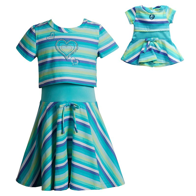 Girls 4-14 Dollie & Me Striped Popover Skater Dress