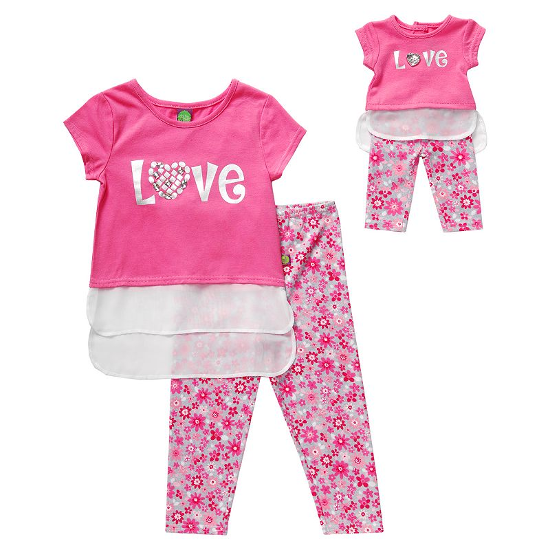 Girls 4-14 Dollie & Me High-Low Tunic & Floral Leggings Set
