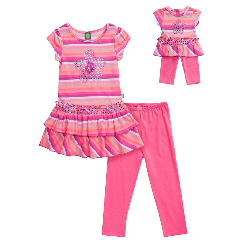 Girls 4-14 Dollie & Me Striped Drop-Waist Tunic & Leggings Set