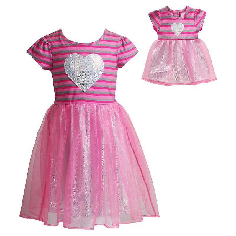 Girls 4-14 Dollie & Me Striped Metallic Heart Dress