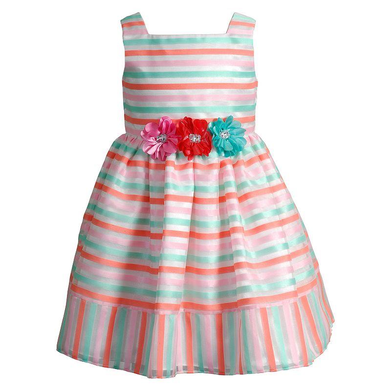 Girls 4-6x Youngland Striped Organza Dress