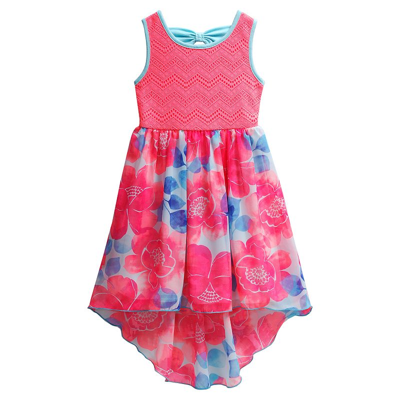 Girls 4-6x Youngland Crochet Floral High-Low Chiffon Dress