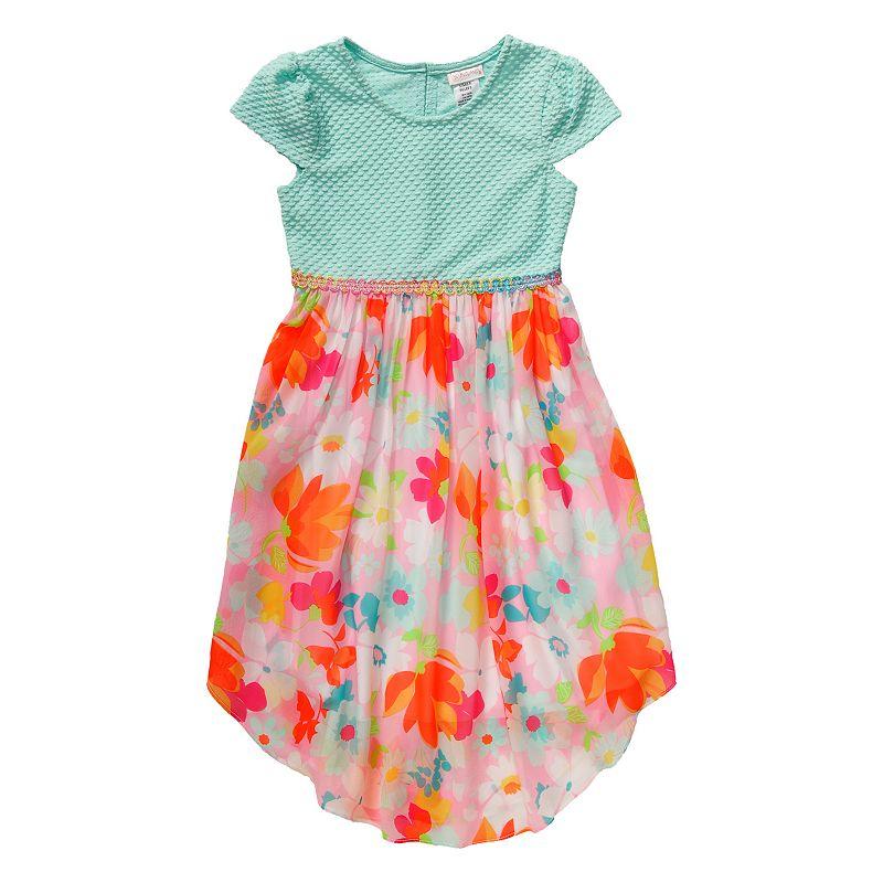 Girls 4-6x Youngland Knit Floral Chiffon Dress